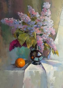 The still life with orange