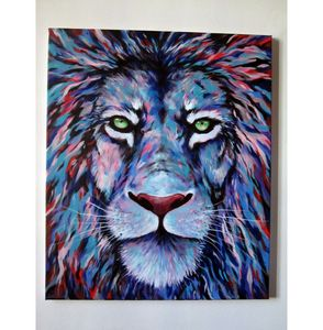 lion tricolor blue red animal canvas