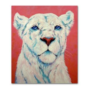 Lioness white animal painting