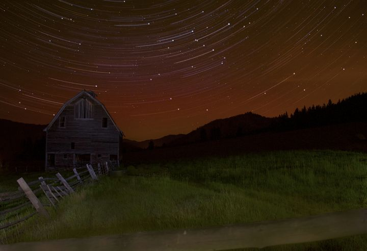 Star Trails over the 97 Barn - Bear Conceptions Photography