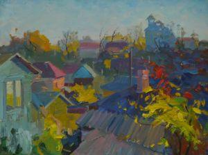 Roofs of Leskovitsa. Autumn