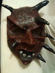 Red Demon Mask | Paper Mache Mask - Papyromancer