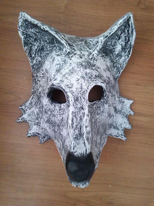 Ghost Wolf Mask | Paper Mache Mask - Papyromancer
