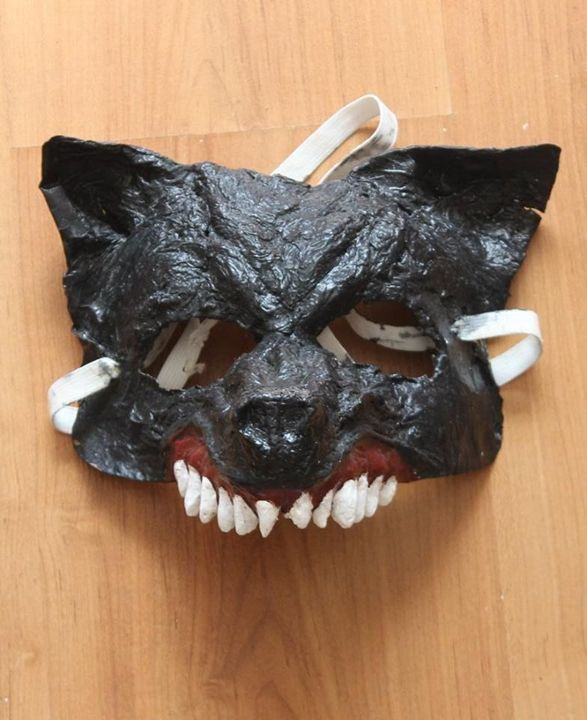 Black Wolf Half-Mask   Paper Mache - Papyromancer