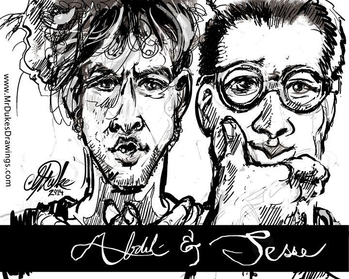 Abdül & Jesse - bros @ the beach - MrDukesDrawings