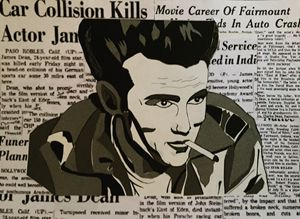 James Dean ink and grey paper