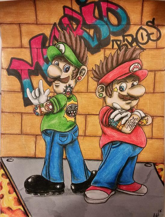 Mario Bros Graffiti - Mistryss C's Arts