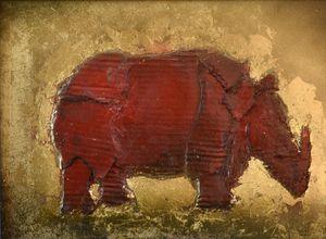 Red rhino totem - Peter Sazerman