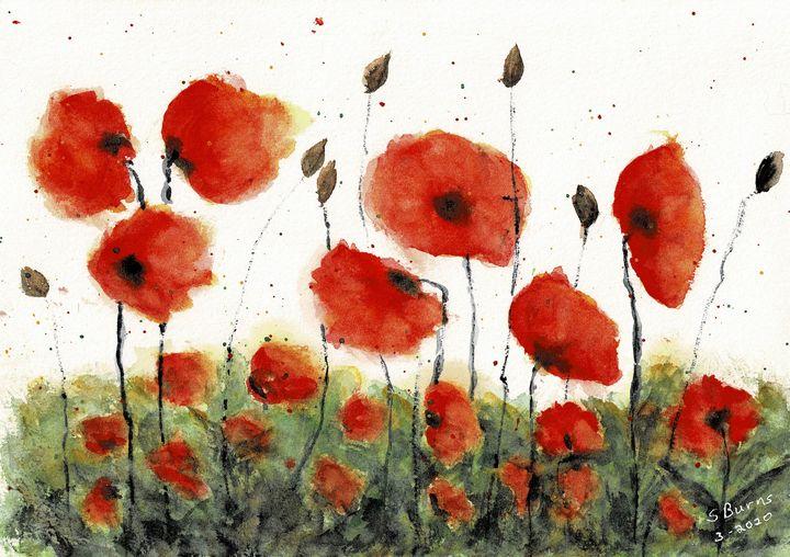 Poppies Greeting Card - Susan Burns