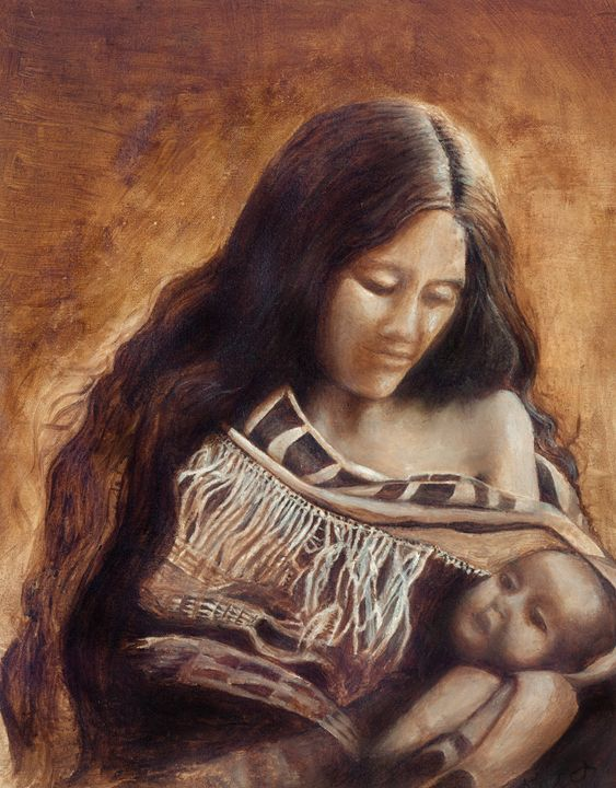 Native mother and child - Art by Kat
