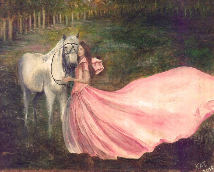 Woman and Silver Horse - Art by Kat
