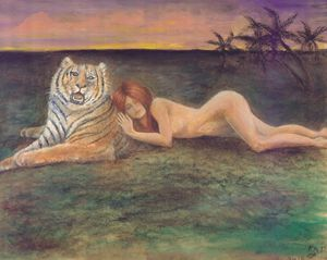 Woman lying with Tiger