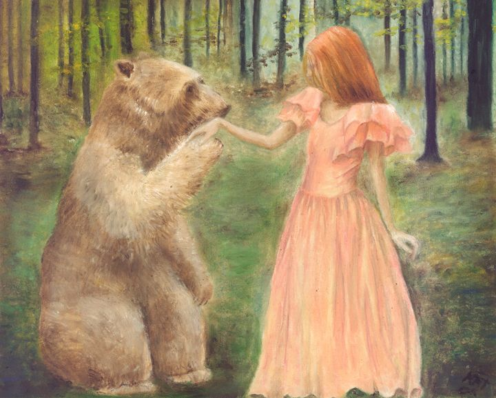 Woman and Bear Holding Hands - Art by Kat
