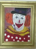 Oil on Canvas of man in clown suit