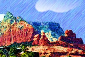 Rain on Red Rock