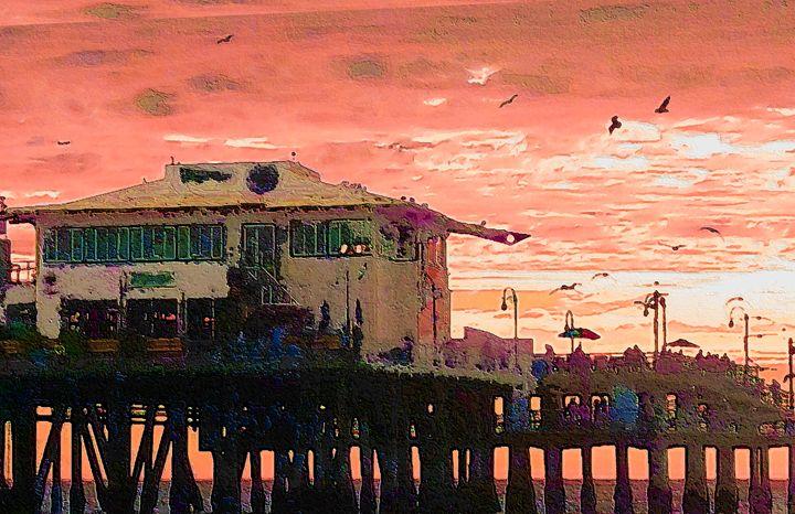 Seagulls Over Pier - Ron Irwin