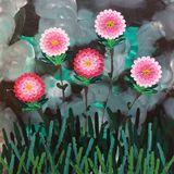 20x20 impasto floral acrylic