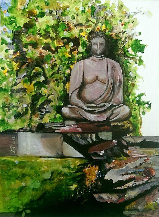 Buddha in garden - Robert Czibi Art