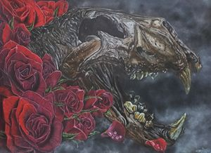 Lion's skull and roses