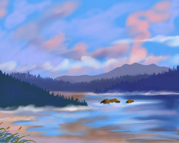 Pacific Northwest Cove at Sunset - helen geld