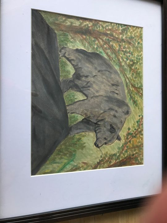 Bear water color in nature painting - Love of nature