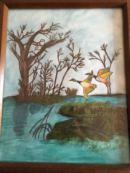 Water color birds in nature - Love of nature
