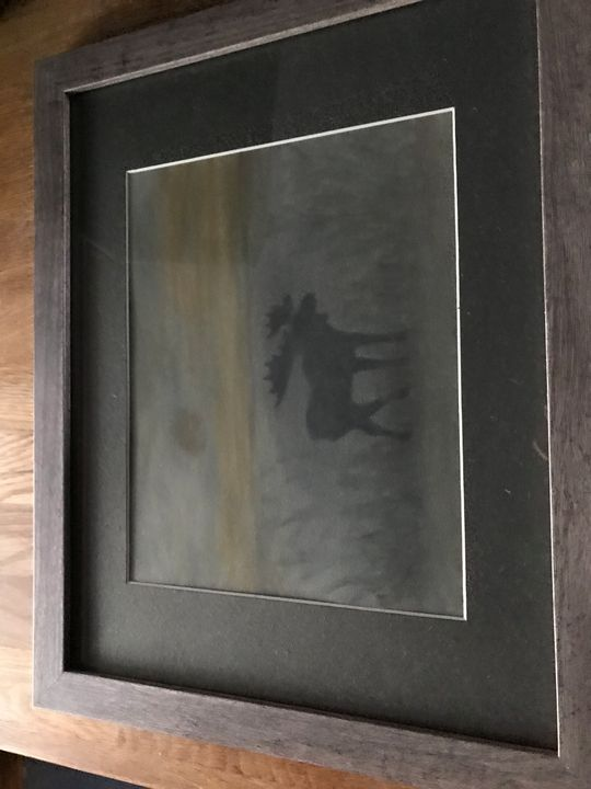 Pastel moose in the woods framed - Love of nature
