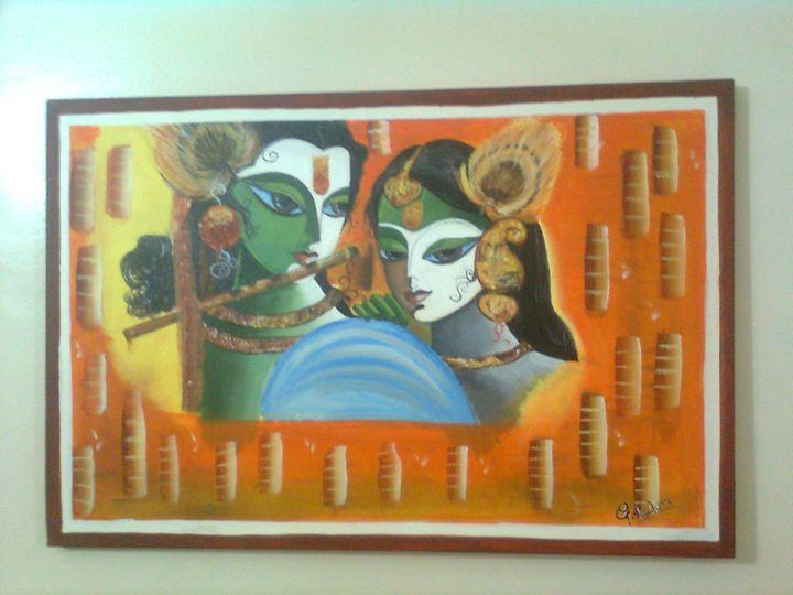 radha krishna painitng - Mesmerizing Art