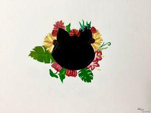 Summer black cat