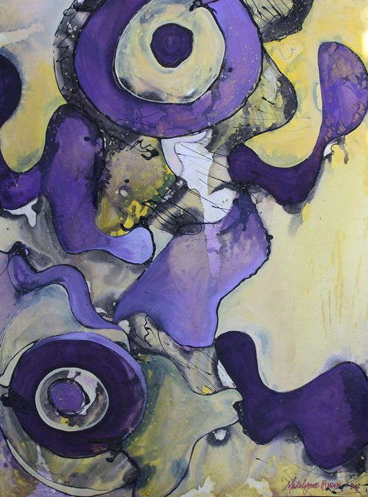 Purple Circles on Yellow - Madelynne Brown Broyles