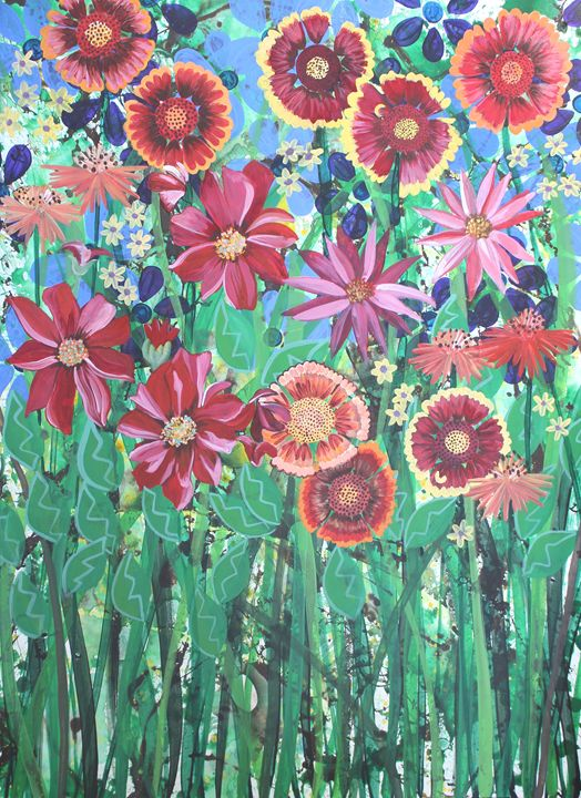 Gerber Daisies in a Flower Bed - Madelynne Brown Broyles