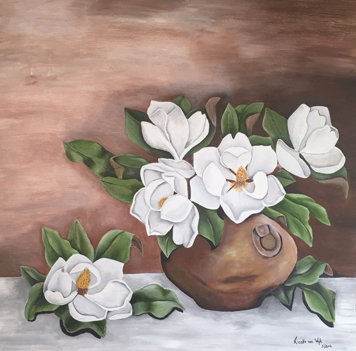 Magnolias in clay pot - L van Wyk / Living Arts