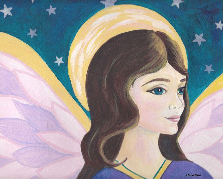 Angel and stars - Art by Cheryl Hamilton
