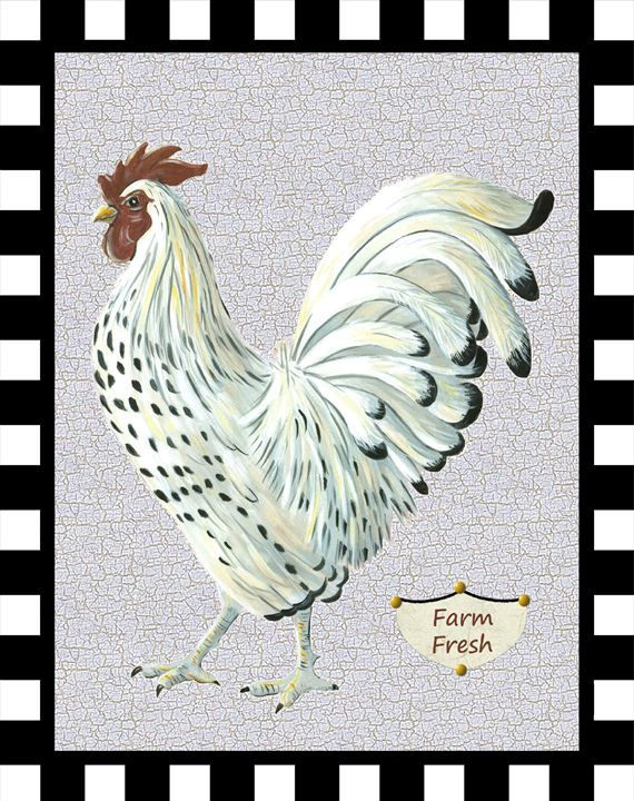 White country rooster - Art by Cheryl Hamilton