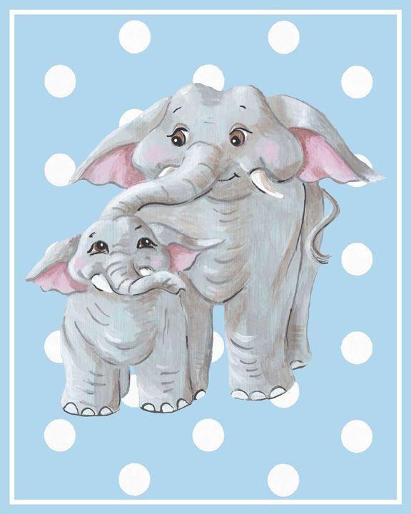 Elephants on blue - Art by Cheryl Hamilton