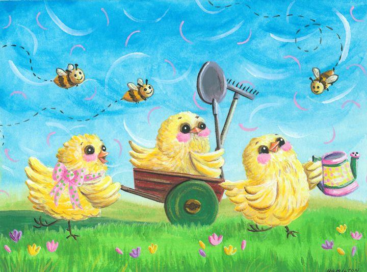 Gardening Chicks - Art by Cheryl Hamilton