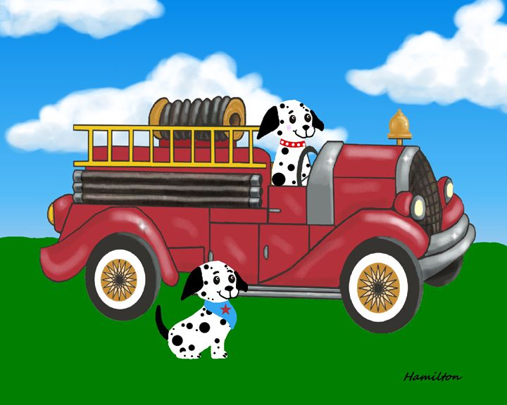 Red firetruck - Art by Cheryl Hamilton