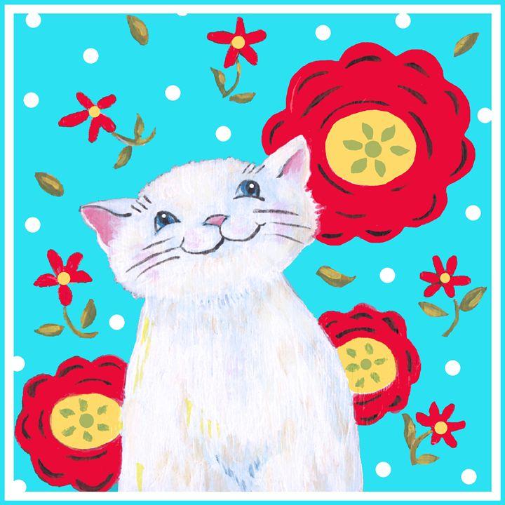 Flower Cat - Art by Cheryl Hamilton