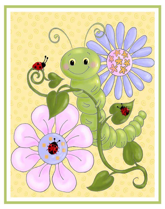 Caterpillar and ladybugs - Art by Cheryl Hamilton