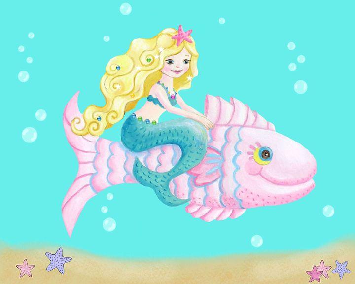 Mermaid on Pink Fish - Art by Cheryl Hamilton