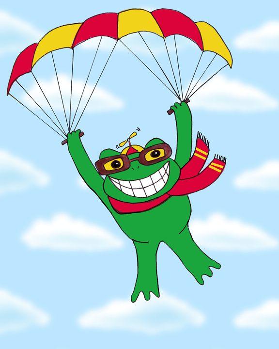 Parachuting frog - Art by Cheryl Hamilton