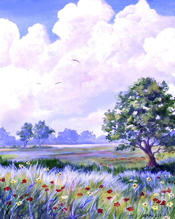 Landscape in Blues - Art by Cheryl Hamilton