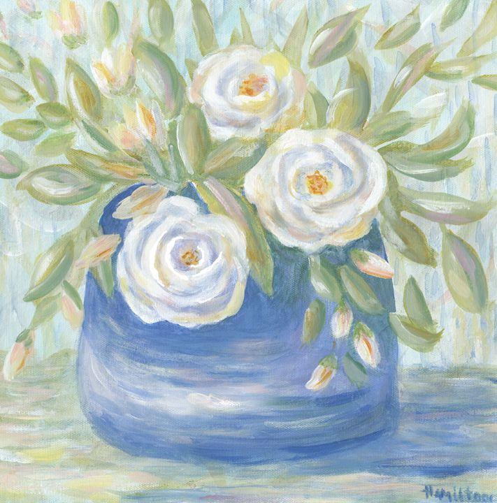 White roses in blue vase - Art by Cheryl Hamilton