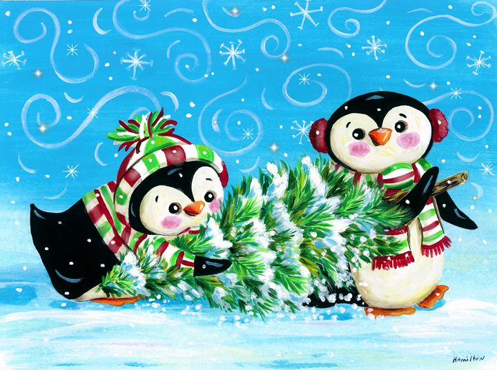 Penguin Christmas - Art by Cheryl Hamilton