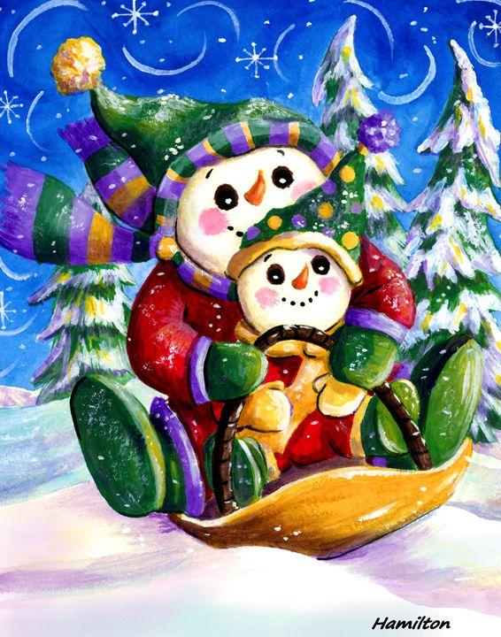Sledding Snowmen - Art by Cheryl Hamilton
