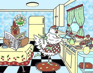 Chickens at Breakfast - Art by Cheryl Hamilton