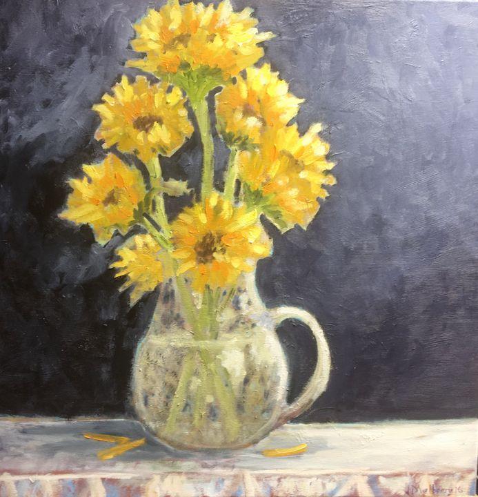 Sunflowers against Black Wall - John Mulberry art