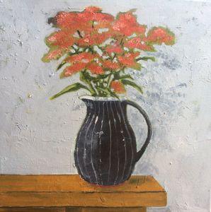Spiraea in a Black Vase