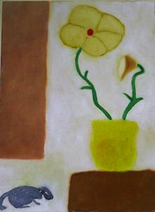 Flower in yellow pot with mouse