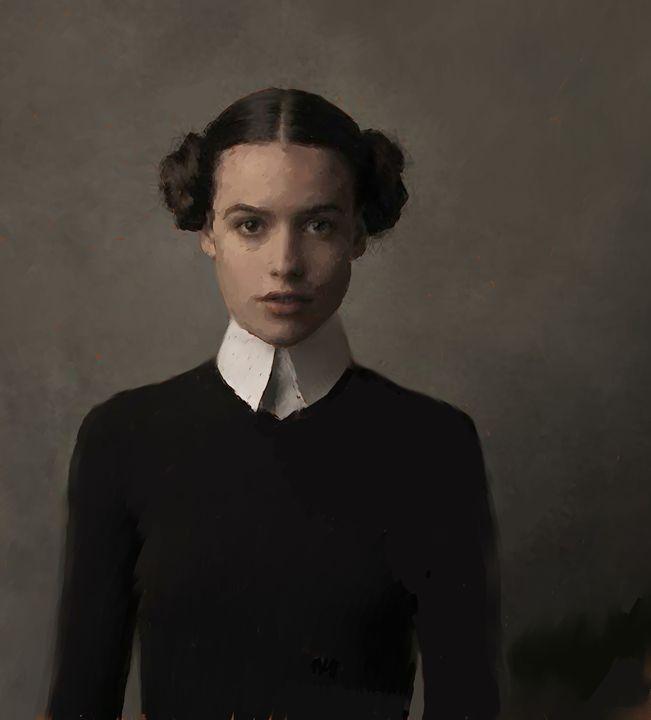 Portrait of a young woman - Ian Banks Art